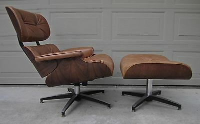 Vintage Rosewood Lounge Chair Ottoman caramel leather Selig Plycraft Eames