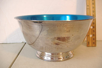 """~Paul Revere Reproduction """"silver"""" Bowl With Blue Interior ~Wm. A. Rogers~Oneida"""