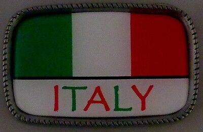ITALY FLAG Antique Silver Belt Buckle USA MADE Italian