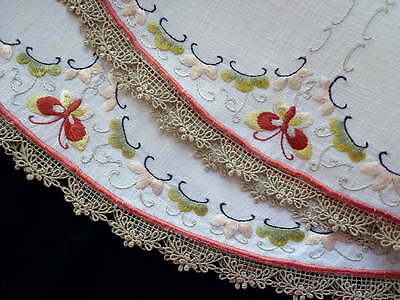 Arts and Crafts Fine White Linen Round Tablecloth Silk Hand-Embroidery 22""