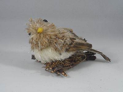 Natural Bird with Feathers on Branch Nest Christmas Tree Ornament new holiday