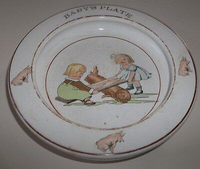 Delightful Vtg Porcelain China Baby's Plate Bowl with Kids on Seesaw and Pigs