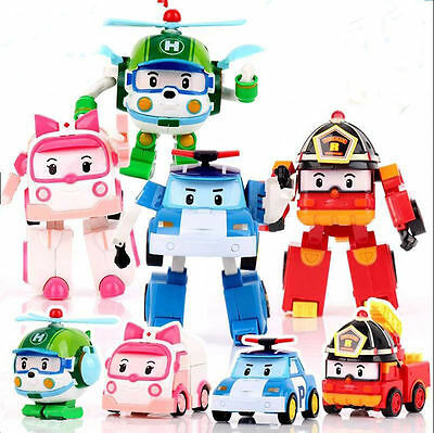 4 pcs Robocar Poli Ambe Roy Helly Robot Transformers Toys Kids Educational Gifts