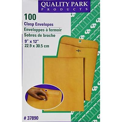 Quality Park Clasp 9 x 12 Inch 28lb Brown Kraft Envelopes 100 Count (37890) New