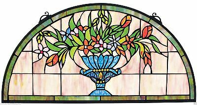 Tiffany Style Floral Suncatcher Arch Shaped Stained Glass Window Art NEW