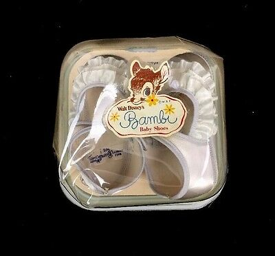 Vintage 1950s Walt Disney Production Bambi White Crib Shoes Sz 1 New In Package