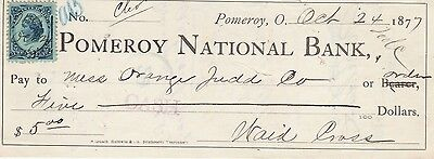 Antique Check Pomeroy National Bank, Pomeroy, Ohio  1877  Renenue Stamp
