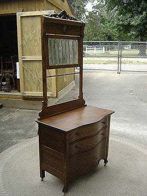 Oak Hotel Wash Stand with Towel Bar and beveled mirror. 7329