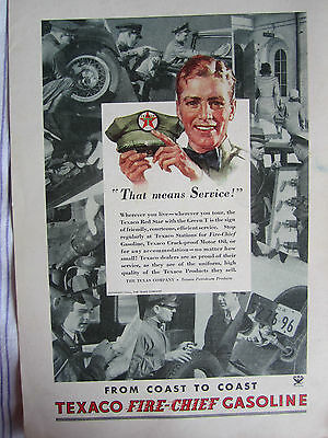 Vintage 1934 TEXACO FIRE-CHIEF GASOLINE SERVICEMAN Advertising Color Sign/Ad