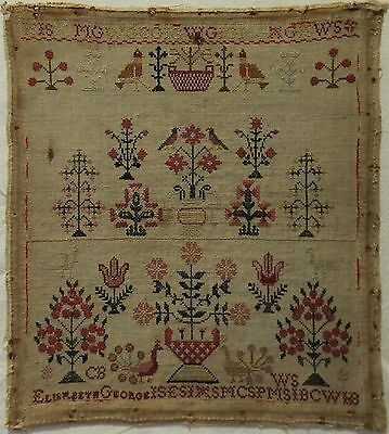 SMALL EARLY 19TH CENTURY FLORAL MOTIF & BIRDS SAMPLER BY ELISABETH GEORGE c.1820