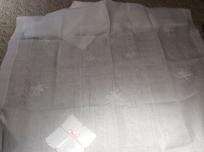 Vintage White Rice Linen Embroidered Tablecloth+12 Napkins