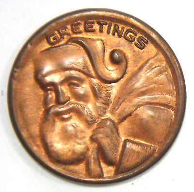Capped 1935 Cent - Greetings (Santa Claus with a Bag over His Shoulder)