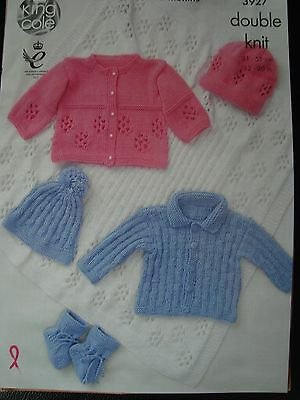 """King Cole 3927 Baby's Blanket,Jackets,  & Hats DK Knitting Pattern Sizes 12-20"""""""