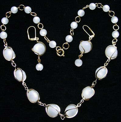 Vintage Snow WHITE 'Caged' MOONGLOW Lucite Bead NECKLACE & EARRINGS~Thermoset