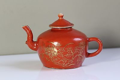 Antique 19thC Chinese Orange Monochrome Porcelain Teapot with Red Wax Seal