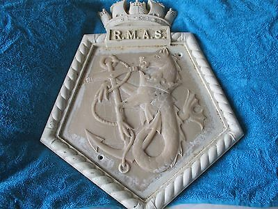 Unusual Vintage Marine Maritime Ships Crest Wall Plaque R.m.a.s With Crown Above