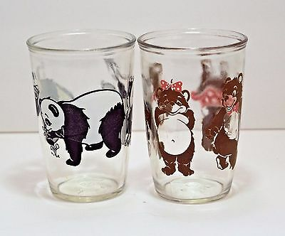 Vintage Jelly Juice Glasses Bear Graphics Black/White Bear & Brown Bear SET OF 2