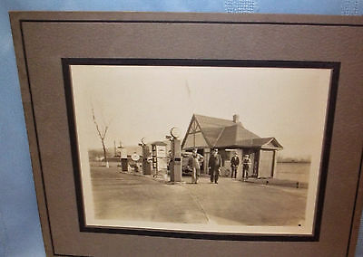 """2-1929 MOUNTED 5"""" x 7"""" B&W PHOTOS OF A MOBILOIL GAS/SERVICE STATION-INSIDE & OUT"""