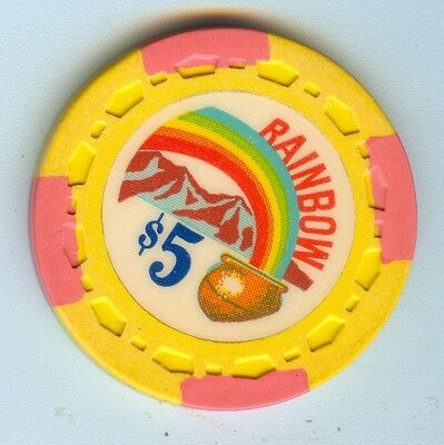 "Obsolete Rainbow Club Gardena Los Angeles California $5 Chip - ""great Shape"""