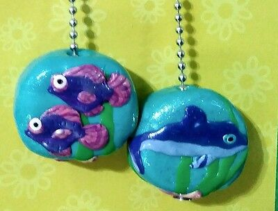 Set of two (2) dolphin fish seahorse star fish handmade ceiling fan chain pulls