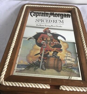 Vintage  Captain Morgan Spiced Rum Mirror Sign Rope Edging Wood Frame Wall Art