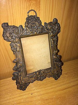 Ornate Victorian Miniature 10X7Cm Metal Picture Frame (Vg Cond)