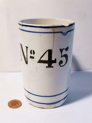 Antique 19thC Military Officers MESS Spongeware Mug Numbered No.45 Distressed