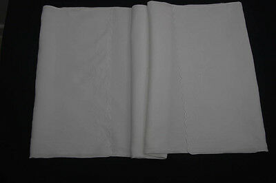 "ANTIQUE EDWARDIAN WHITE COTTON HAND EMBROIDERED PILLOW CASE  35"" x 17"" (595)"