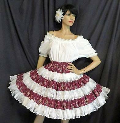 Mexican Fiesta in America Square Dance White Lace Blouse Flower Skirt Dress S M