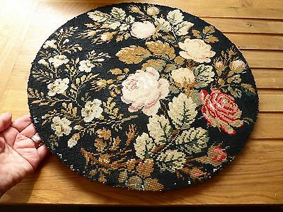 old needlework panel round tapestry floral -picture