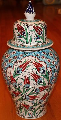 "Turkish 17""x9"" Handpainted Iznik Tulip & Daisy Pattern Ceramic Jar Urn Canister"