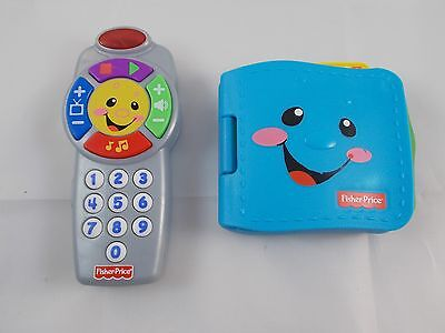 """Fisher Price Laugh & Learn Click Remote Control Toy 6"""" & Blue Wallet w/ Sounds"""
