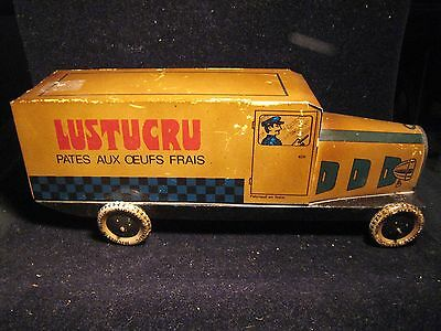 Rare Tin Biscuit Box Delivery Truck Made in Italy Michelin advertising lustucru