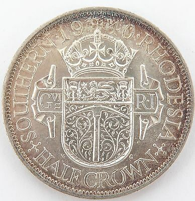 SUPERB aUNC 1940 SOUTHERN RHODESIA HALF CROWN, SLIGHTLY TONED BUT RARE !!!