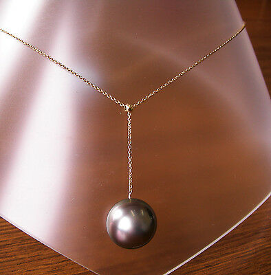 TAHITI 14.1mm!! BLACK PEARL 100% UNTREATED+18 ct YELLOW GOLD NECKLACE SLIDER