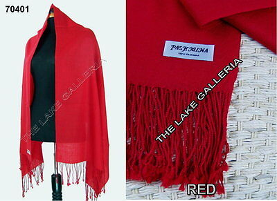 Red Classic Soft Real 100% Pashmina Cashmere Wool Shawl Wrap Scarf Solid