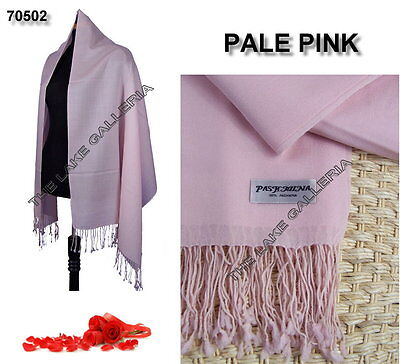 Pale Pink Classic Soft 100% Real Pashmina Cashmere Wool Shawl Wrap Scarf Solid