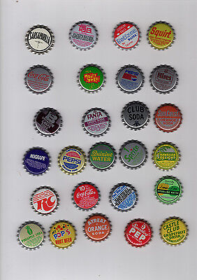 Soda Bottle Cap Collection, Lot Of 26 Different, Without Cork