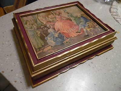 Early 1900's Victorian Art Deco Antique picture wooden jewelry box with mirror