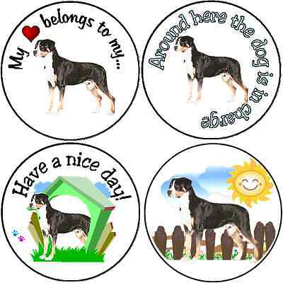 * Assortment of 252 Greater Swiss Mountain Dog stickers seals labels laser