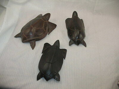 "VTG Lot of 3 LG Sea Turtle Ironwood wood hand carved figurine Mexico 7""-7.5""-8"""