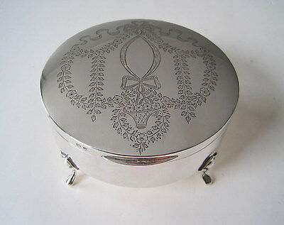 STUNNING 1910 EDWARDIAN Sterling FLORAL GARLAND RIBBON & BOW Footed JEWELRY BOX