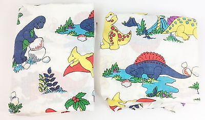 Vintage 1980s Colorful Dinosaur Cartoon Character Twin Flat & Fitted Sheet Set