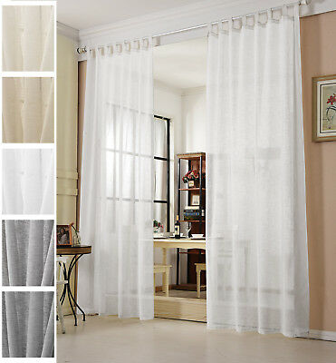 gardinen stores transparent leinen optik schlaufenschal vorhang schal voile 632 eur 9 15. Black Bedroom Furniture Sets. Home Design Ideas