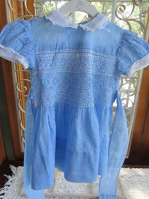 Vintage 1950s Little Girls BLUE Dotted Swiss SMOCKED Dress Peter Pan Collar Sz 6