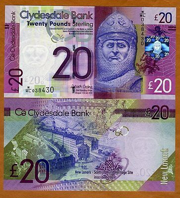 Scotland, Clydesdale Bank, 20 pounds,  2015, P-New, Gem UNC > Robert the Bruce