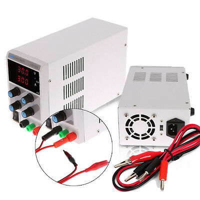 30V 3A Adjustable DC Regulated Power Supply Variable Digital Lab Grade Cable