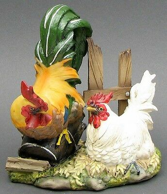 Colorful Rooster & White  Hen  Figurine  Resin Country Decor