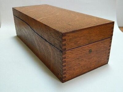 Antique Vintage Globe Wernicke Tiger Oak Dovetailed Card File Box 7314-C