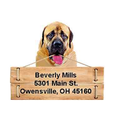 Mastiff return address labels die cut to shape of dog and sign